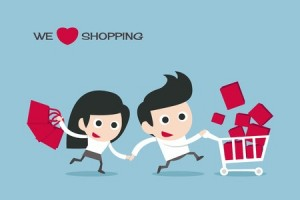 cartoon of couple on a big shopping spree